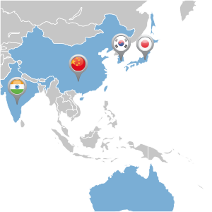 map of asian distributor locations
